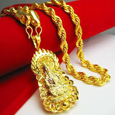 whole gold necklace men do not fade guanyin pendant brand