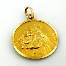18k gold st anthony vintage religious medal charm pendant