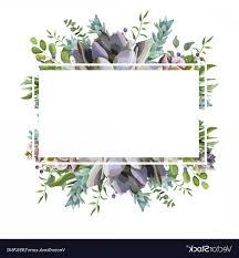 Card Frame Design Card Design With Succulent Cactus Frame Border Vector