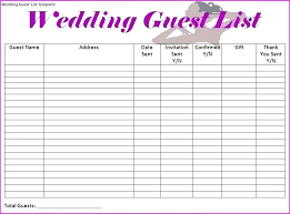 Wedding Guest List Template Excel Download Wedding Task List Excel Template