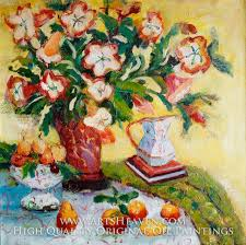 various artist red vase with beautiful flowers and peaches oil painting reion