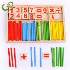 Wooden Math Games 100PC Free Shipping Montessori Wooden Number Math Game Sticks 99