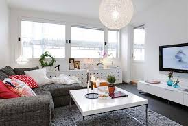 Decorations:Modern Small Apartment Living Room Interior Design With L Shape  White Leather Sofa And