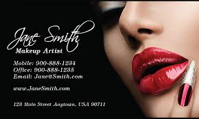 red lips beautician and makeup artist business card design 601131