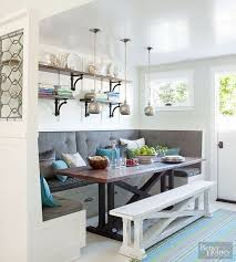 Adorable banquette! Love the shelves, lighting, seating, etc! #BHG. Booth Dining  TableKitchen ...