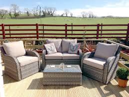 nottingham 4pc high back rattan garden sofa furniture set natural