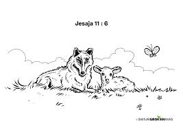 Kleurplaat Wolf En Lam Jesaja 11 6 Bijbelplaatjes