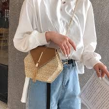 Casual Hexagon Weaving <b>Straw Bags Women Shoulder</b> Bags ...