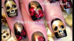 Nail Art Skull Design Diy Bone Skulls And Red Roses Roses Nail Art Design Tutorial