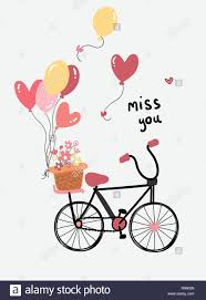 Love Card Design Love Card Vector Flat Design Hand Drawn Bicycle With Flower