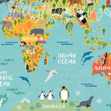 close up of africa in the kids world map wallpaper mural