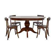 pottery barn round spindle table with extension leaf dining set tables