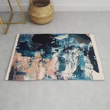 sweetly a bohemian abstract work on paper in blue pink white and gold rug