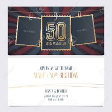 50th Anniversary Party Invitations 50 Years Anniversary Party Invitation Vector Template Illustration
