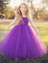 Purple Baby Bridesmaid Flower Girl Tutu Wedding Dress Tulle Fluffy