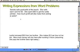 word problems 1 write the expression grade 7
