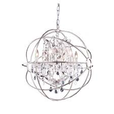 elegant lighting geneva 6 light polished nickel chandelier with clear crystal