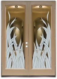 double entry doors glass etching tropical design leaves foliage reeds sans soucie