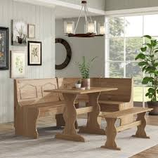 Image Shaped Lall Piece Breakfast Nook Dining Set Wayfair Dinettes Breakfast Nooks Youll Love Wayfair