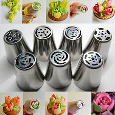 7pcs Stainless Steel Nozzles Russian Tulip Icing Piping Pastry