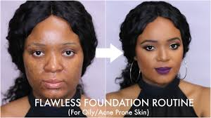 flawless foundation routine for oily acne e skin omabelletv you