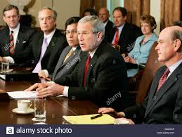 The Press Cabinet Us President George W Bush 2nd R Speaks To The Press At The
