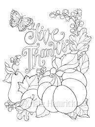 Give Thanks Coloring Page Two Sizes