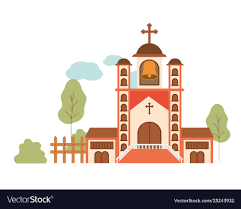 Front Church Design Church With Front View In Landscape