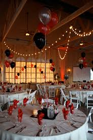 Hollywood Themed Prom with black, red and silver balloons at Maneeley's  Lodge in South Windsor
