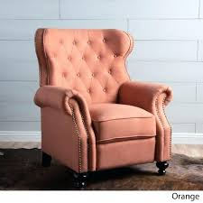 orange recliner tufted fabric club chair by knight home west elm leather recliners county ca