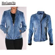 hcyo new hot popular women baseball jackets stretch denim jacket multi zipper short motor style chaqueta female denim coats womens leather jacket suede