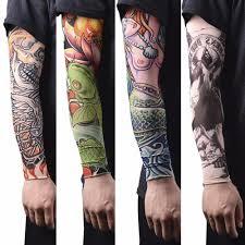 нейлон тату рука чулки рука теплее крышка эластичный поддельные временные