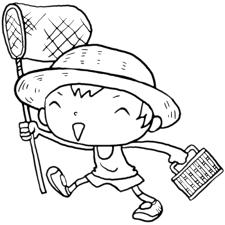 夏だ虫取り網と虫かごを持っていざゆかん麦わら帽子の男の子塗り絵