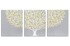 wall art gray and yellow tree