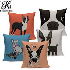 hot linen boston terrier french bulldog gifts luxury cushion pillow case 45cmx45cm square office chair handmade cushion case in cushion er from home