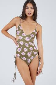 Greece Side Cut Out One Piece Swimsuit Aloha Floral Print