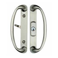 rockwell keylocking sliding glass door handle with center keylock in brushed