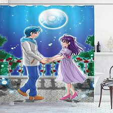 See more ideas about anime, anime art, anime girl. Amazon Com Ambesonne Anime Shower Curtain Illustration Of Romantic Couple Holding Hands Under Moonlight Love In Manga Themed Print Cloth Fabric Bathroom Decor Set With Hooks 84 Long Extra Multicolor Home Kitchen