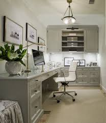 killer home office built cabinet ideas. Gray Office With L Shaped Desk Beveled Top White Chair. Built-in Cabinets Glossy Cabinet Moldings. Polished Nickel Killer Home Built Ideas O