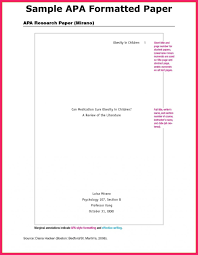 Apa Style Research Paper Samples Template An Example Of Outline