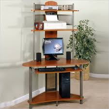 Compact Corner Desk Furniture Glass Computer Desk With Keyboard Shelf Connected With
