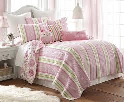adalyn cotton quilt twin pink white green stripes