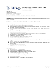 Accounts Payable Clerk Resume Job Description Of Accounts Payable