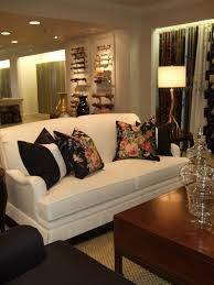 this is ralph lauren s beautiful fabrics on a kravet sofa love the black fl pillows with the white sofa notice the black trim details at the bottom of