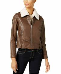 details about new lucky brand women s faux fur collar faux leather moto jacket brown large