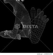 女性の体 足の裏 ワイヤーフレーム Perming3dcg イラスト素材 素材の