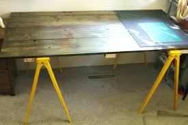 sawhorse desk furniture with yellow wooden legs how to build from scratch best easy diy
