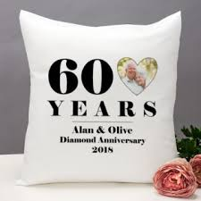 personalised 60th wedding anniversary photo cushion image