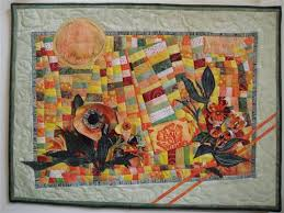 Garden Lady Art Quilt by Jean Sredl 3-D fabric flowers on wonky ... & Garden Lady Art Quilt by Jean Sredl 3-D fabric flowers on wonky batik  patchwork Adamdwight.com