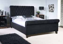 black upholstered sleigh bed. This Modern Bedstead Comes In A Plush Velvet Gorgeous Black Finish. The Extra Upholstered Sleigh Bed E